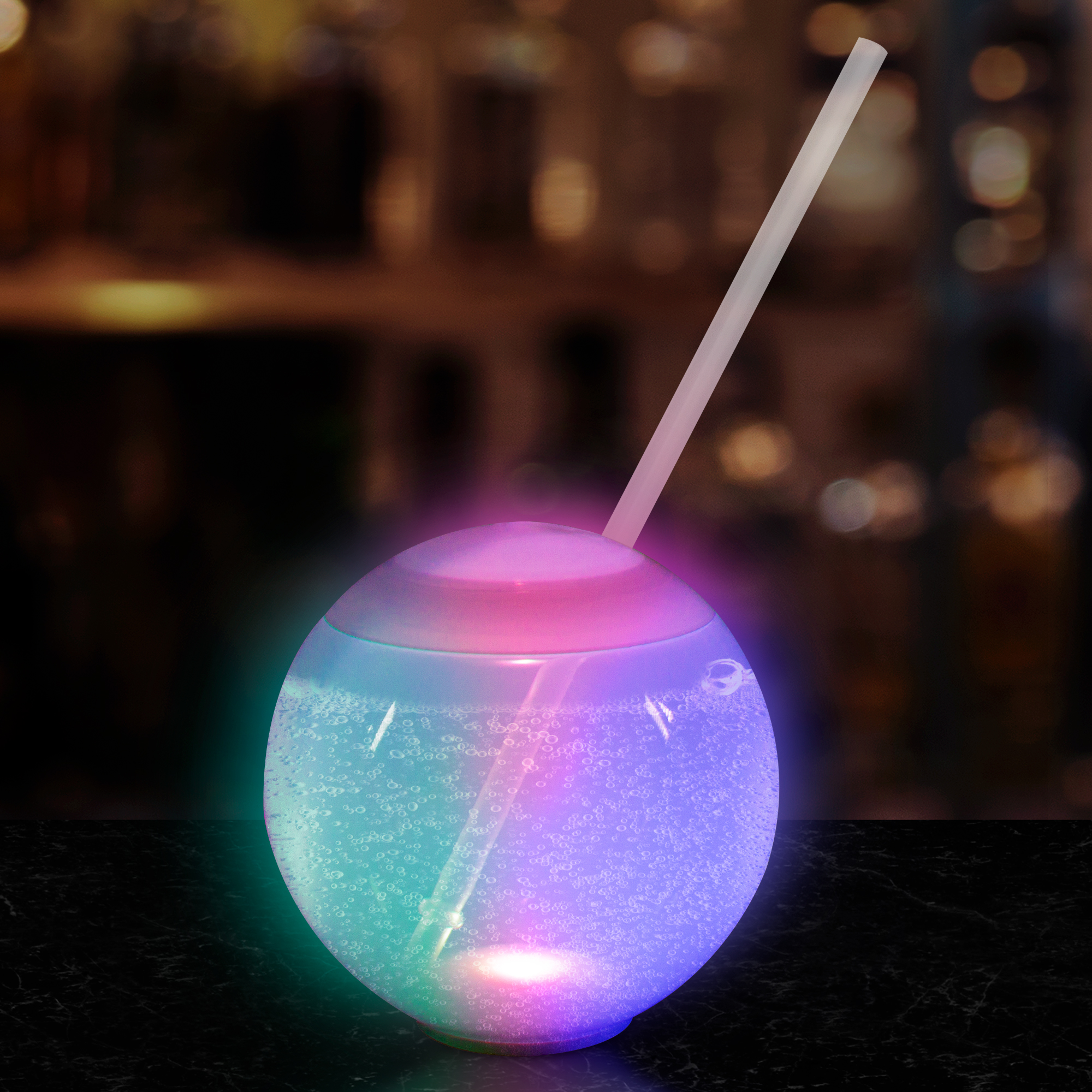 Led Multi Color 20 Oz Ball Tumbler With Straw