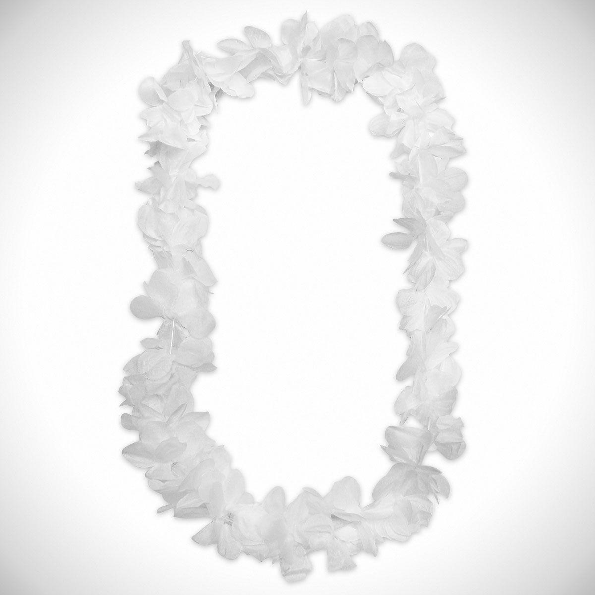 White Silk Flower Leis 42 12 Pack