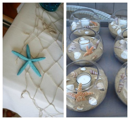 Place A Small Candle In The Center Of Bowl Or Jar For An Elegant And Beach Themed Table Decoration Seashells Real Fake On Top Fishing