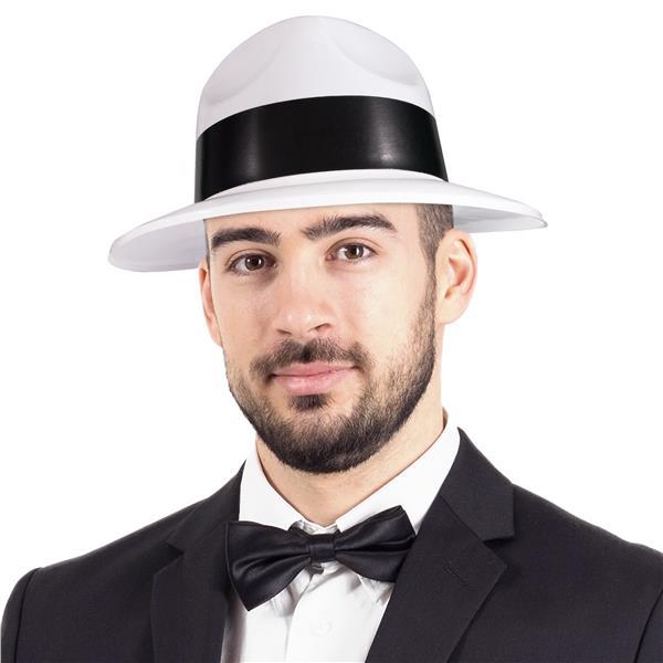 12 Pack Black Plastic Gangster Hats Party Fedora Hats 1 Dozen