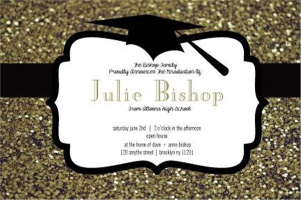 Gold glitter graduation horizontal invitation featured video filmwisefo