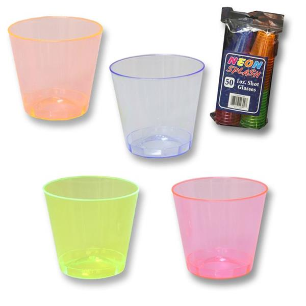 Assorted Coloured Neon Plastic Party Shot Glasses 1oz 50 Pack Great Value!