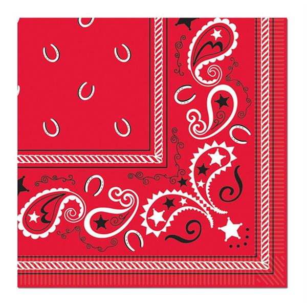 Red Bandana Beverage Napkins - 16 Per Unit by Windy City Novelties PAP5801BUN
