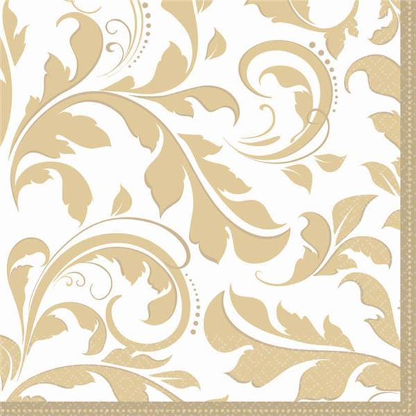 Gold Elegant Lunch Napkins - 16 Pack by Windy City Novelties PAP5039LUN