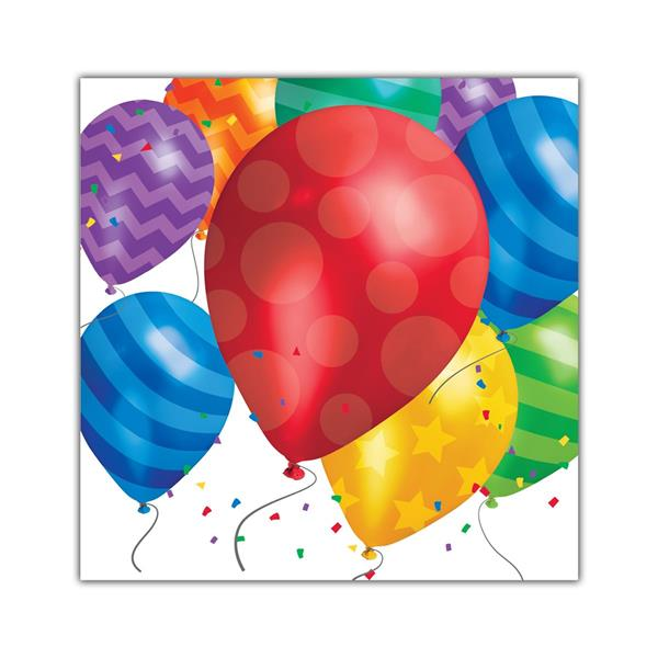 Balloon Blast Beverage Napkins - 16 Per Unit by Windy City Novelties PAP7800BUN