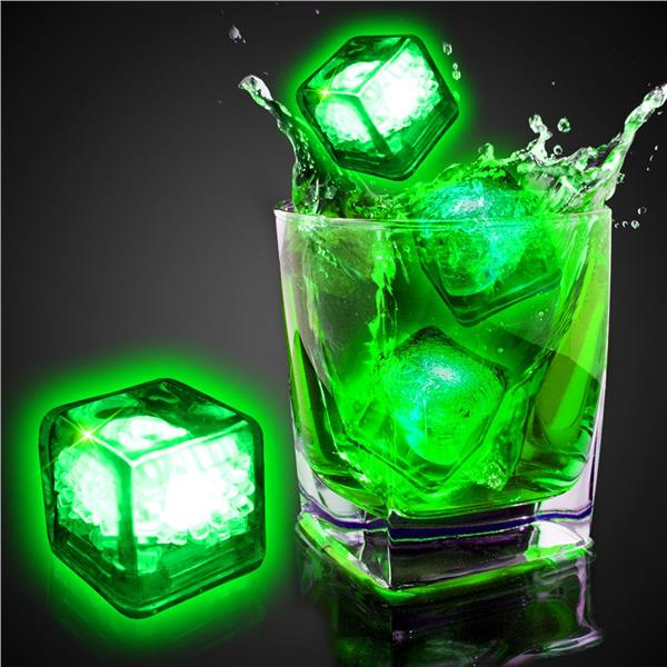 green liquid activated light up ice cubes