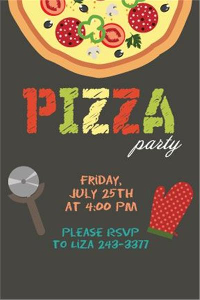 It S A Pizza Party Vertical Invitation