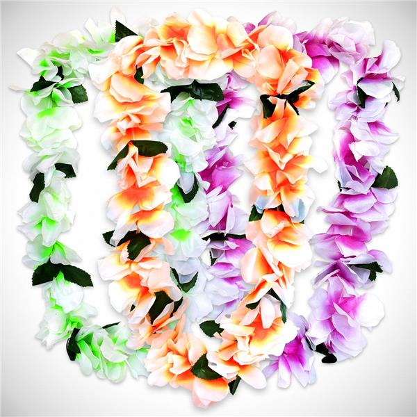 Neon silk flower leis 12 pack mightylinksfo