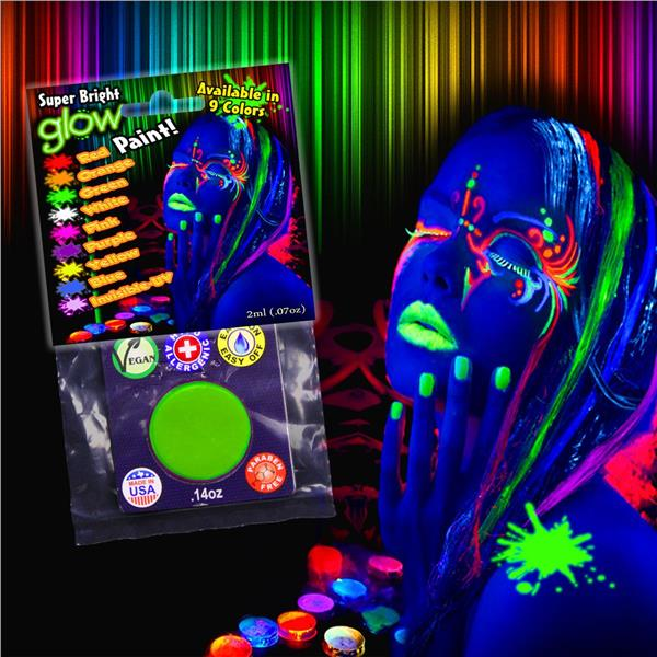 Our Green GLOW Paint is fun for everyone! The green color in this paint set will appear bright and bold under ordinary lighting and Brilliantly Fluoresce under Black Light. Our amazing luminescent paints are non-toxic and designed to dry quickly to a smooth matte finish that is water resistant and flexible. Add a major wow factor to costumes and sporting events. Halloween will never be the same when you head out at night painted in our Super Bright Glow Paint makeup! This paint glows in the da