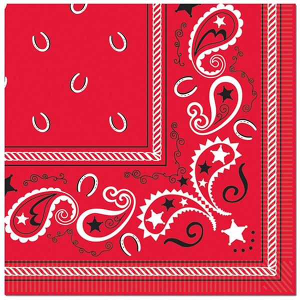 Red Bandana Lunch Napkins - 16 Per unit by Windy City Novelties PAP5801LUN