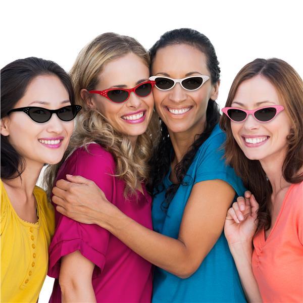Retro Sunglasses Cat Eye 70s 60s Vintage Style Festival Womens Glasses Pink Red