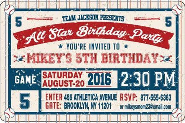 All Star Baseball Birthday Party Horizontal Invitations