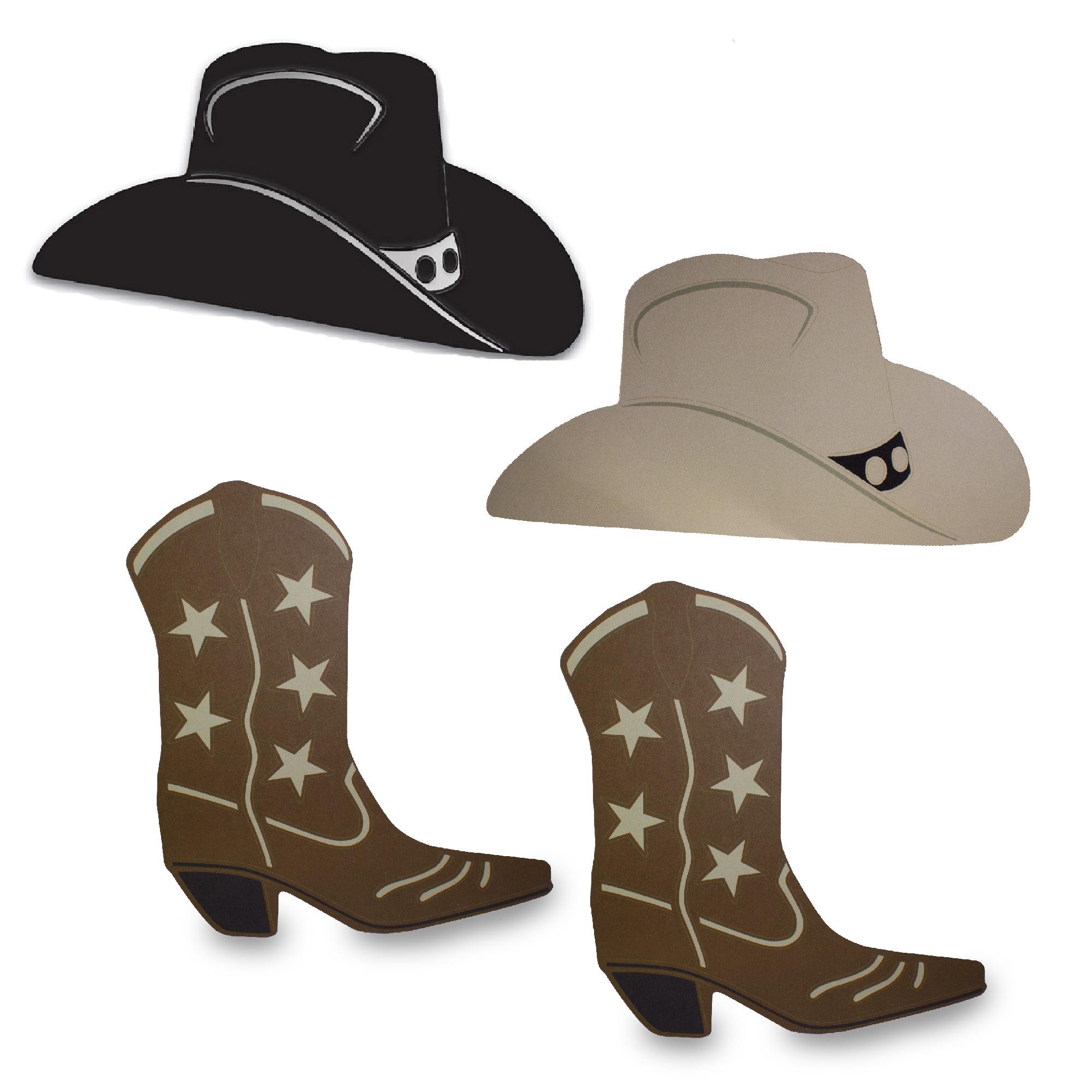 Cowboy Hat Boot Foil Silhouettes