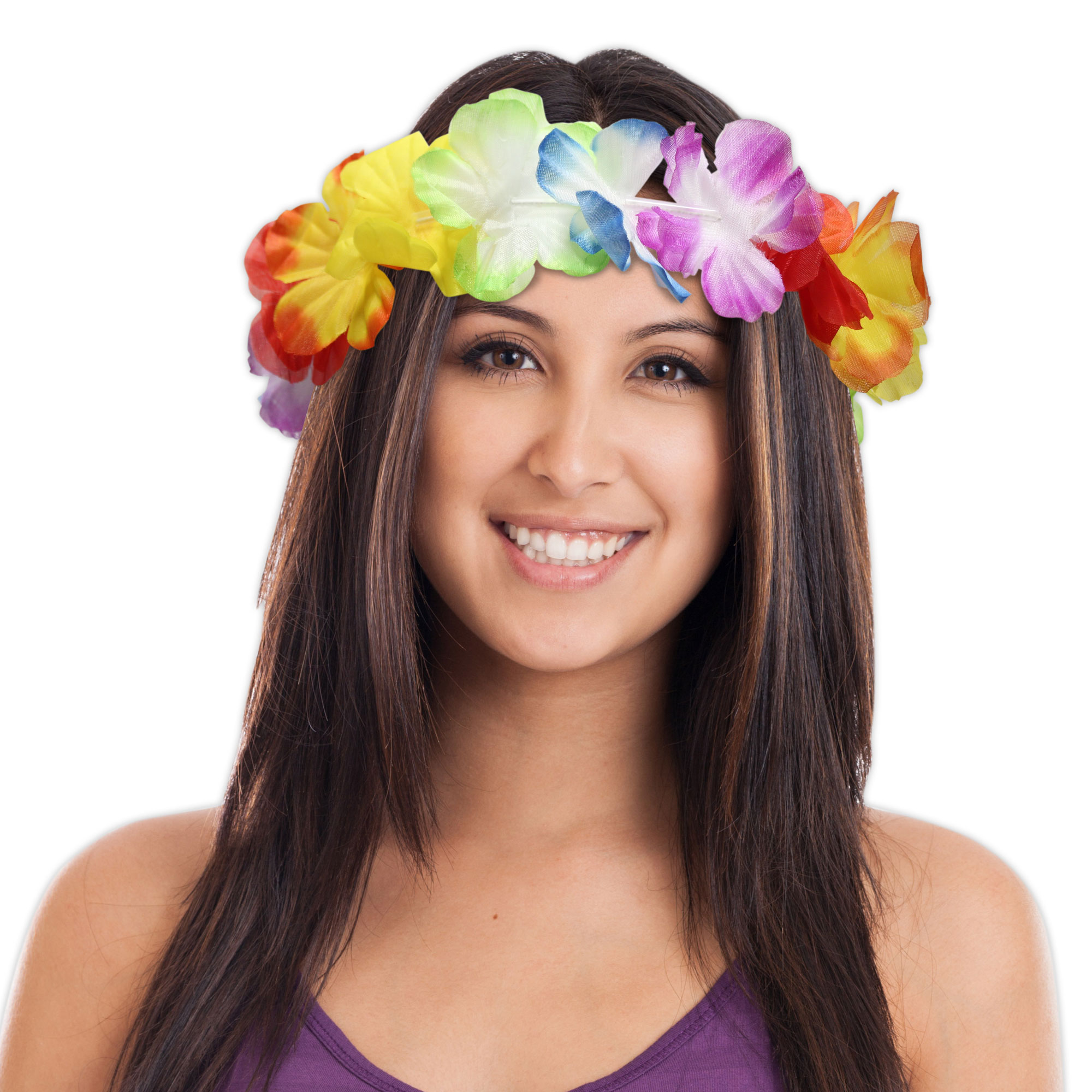 Jumbo Silk Flower Lei Headbands 21 12 Pack