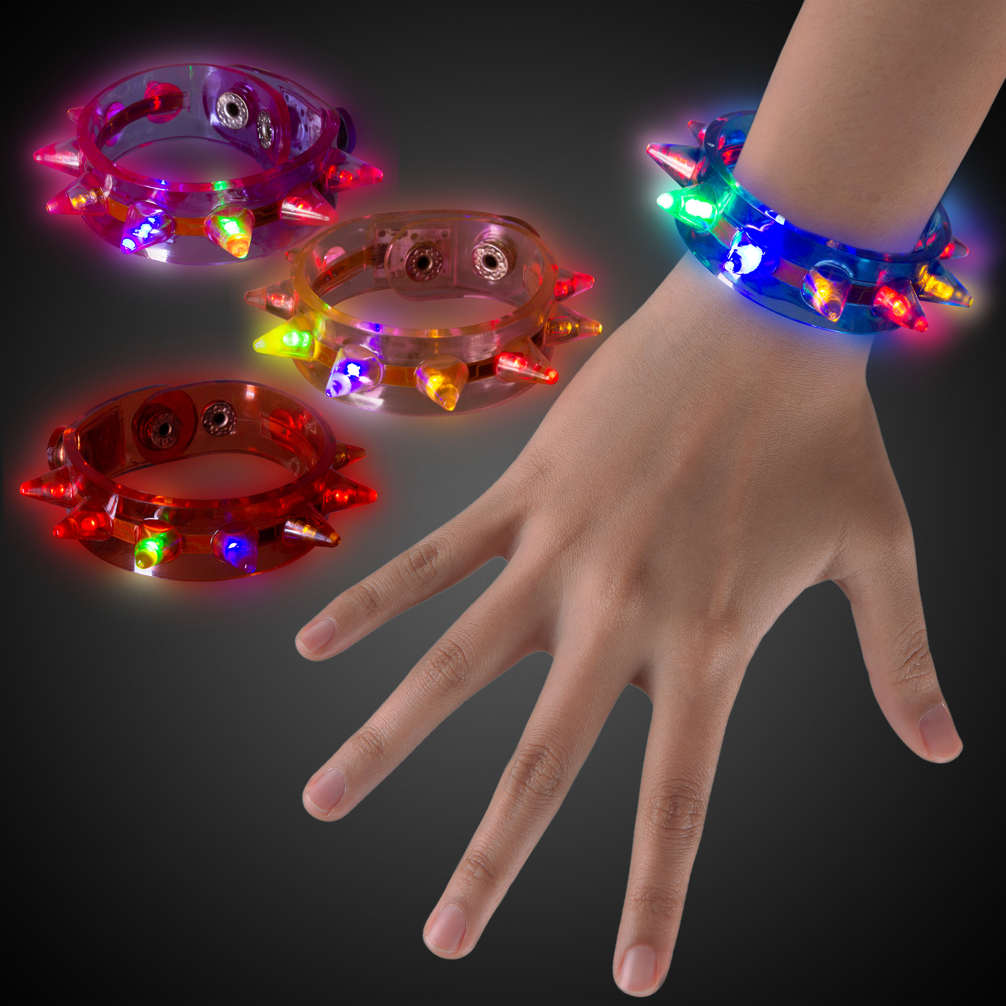 Light Up Spike Bracelets 12 Pieces LED Wristbands Flashing Blinky Party Rave Fun